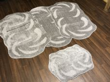 Cork Oblong Non Slip Washable Two Tone Traveller/Gypsy Mat Set 4Pc  Grey/Silver All Colours
